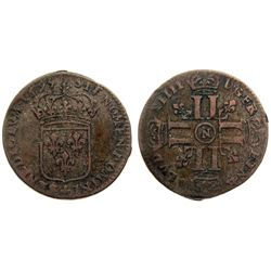1695-N [Montpellier Mint] Sol de 15 Deniers, Gadoury 91.