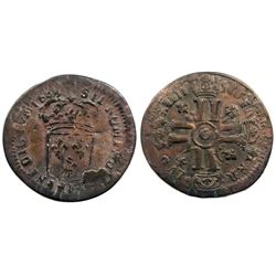 1695-O [Riom Mint] Recoined Sol de 15 Deniers, Gadoury 91.