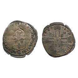 1695-P [Dijon Mint] Recoined Sol de 15 Deniers, Gadoury 93.
