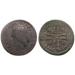 1695-Y [Bourges Mint] Recoined Sol de 15 Deniers, Gadoury 91.