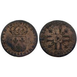 """1695-""""&"""" [Aix Mint] Sol de 15 Deniers, Gadoury 91."""