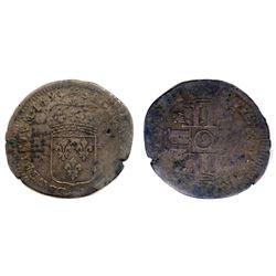 """1695-""""9"""" [Rennes Mint] Recoined Sol de 15 Deniers, Gadoury 91."""