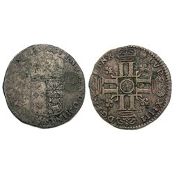 "1695-""Dot in Circle"" [Pau Mint] Sol de 15 Deniers de France-Navarre-Bearn, Gadoury 94."