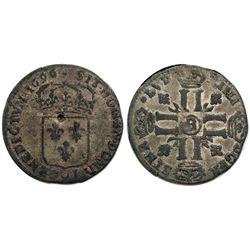 1696-B [Rouen Mint] Sol de 15 Deniers, Gadoury 91.