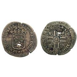 1696-E [Tours Mint] Recoined Sol de 15 Deniers, Gadoury 93.