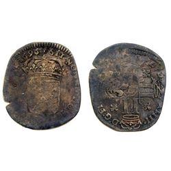 1696-L [Bayonne Mint] Recoined Sol de 15 Deniers, Gadoury 93.