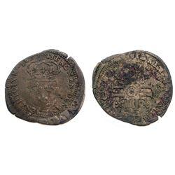 """1696-""""&"""" [Aix Mint] Recoined Sol de 15 Deniers, Gadoury 91."""