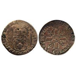 1697 [Likely]-C [Caen Mint] Recoined Sol de 15 Deniers, Gadoury 91.