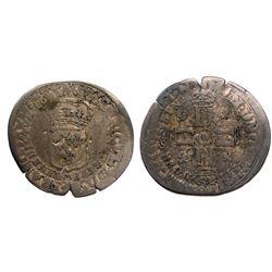 1697-D [Lyon Mint] Recoined Sol de 15 Deniers, Gadoury 92.