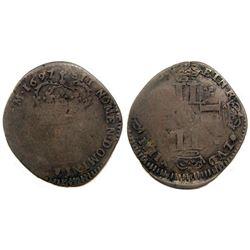 1697-H [La Rochelle Mint] Recoined Sol de 15 Deniers, Gadoury 91.