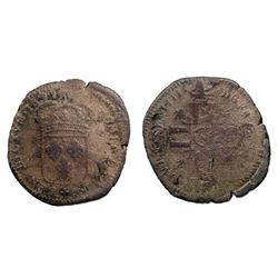 1697-N [Montpellier Mint] Recoined Sol de 15 Deniers, Gadoury 91.
