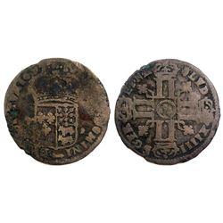 "1697-""Dot in Circle"" [Pau Mint] Sol de 15 Deniers de France-Navarre-Bearn, Gadoury 94."