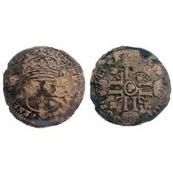 1698-P [Dijon Mint] Recoined Sol de 15 Deniers, Gadoury 93.