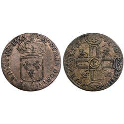 1699-Crowned L [Lille Mint] Sol de 15 Deniers, Gadoury 91.