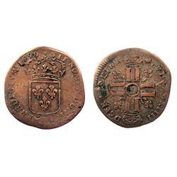 1699-Crowned L [Lille Mint] Recoined Sol de 15 Deniers, Gadoury 91.
