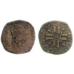 1699-O [Riom Mint] Recoined Sol de 15 Deniers, Gadoury 91.