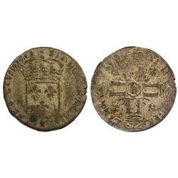 1701-B [Rouen Mint] Sol de 15 Deniers, Gadoury 91.