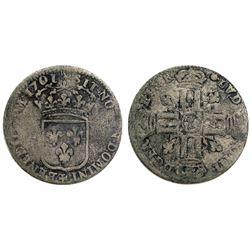 1701-Crowned L [Lille Mint] Sol de 15 Deniers, Gadoury 91.