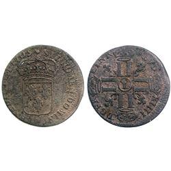 1705-Crowned L [Lille Mint] Sol de 15 Deniers, Gadoury 91.
