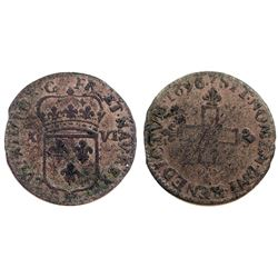 1696-BB [Strasbourg Mint, as are all to follow] Sol of 16 Deniers.  Gadoury 96.