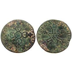 1710-& [Aix Mint] Six Deniers of Dardennes, Gadoury 85.