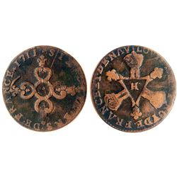 1711-H [La Rochelle Mint] Six Deniers of Dardennes, Gadoury 85.