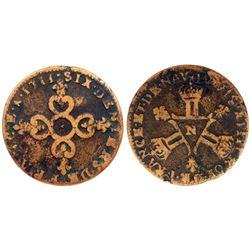 1711-N [Montpellier Mint] Six Deniers of Dardennes, Gadoury 85.