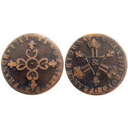 1711-& [Aix Mint] Six Deniers of Dardennes, Gadoury 85.