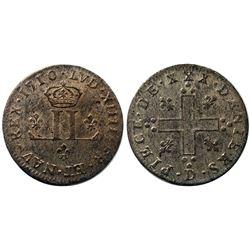 1710-D [Lyon Mint] Billon 30 Deniers.  Vlack 2, Gadoury 102.