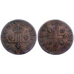 1712-D [Lyon Mint] Billon 30 Deniers.  Vlack 5, Gadoury 102.