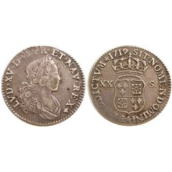 1719-A [Paris Mint] John Law Silver 20 Sols, Gadoury 295.