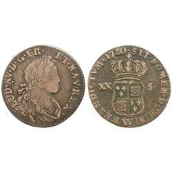 1720-W [Lille Mint] John Law Silver 20 Sols, Gadoury 295.