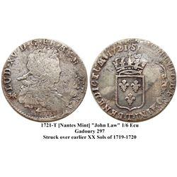 1721-T [Nantes Mint] John Law Silver 1/6 Ecu, Gadoury 297.