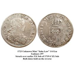 1723 [Unknown Mint] John Law Silver 1/6 Ecu, Gadoury 297.
