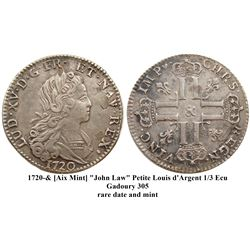 """1720-""""&"""" [Aix Mint] John Law Silver Petit Louis d'Argent (3 Livres), Gadoury 305."""