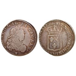 1720-M [Toulouse Mint] John Law Silver 1/3 Ecu, Gadoury 306.