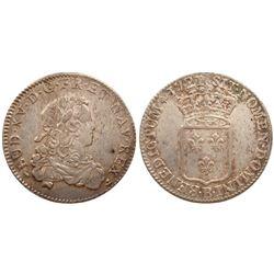 1721-B [Rouen Mint] John Law Silver 1/3 Ecu, Gadoury 306.