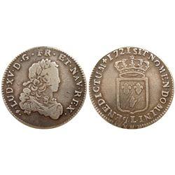 1721-L [Bayonne Mint] John Law Silver 1/3 Ecu, Gadoury 306.