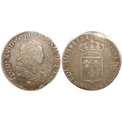 1721-M [Toulouse Mint] John Law Silver 1/3 Ecu, Gadoury 306.