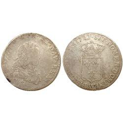 1721-W [Lille Mint] John Law Silver 1/3 Ecu, Gadoury 306.