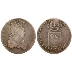 1722-G [Poitiers Mint] John Law Silver 1/3 Ecu, Gadoury 306.