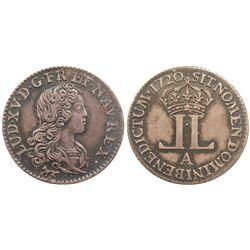 1720 A [Paris Mint] John Law Livre d'Argent Fin.  Gadoury 296.