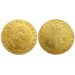 1720-D [Lyon Mint] John Law Gold Louis D'or aux 2L, Gadoury 337.