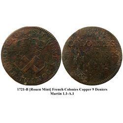 1721-B [Rouen Mint] Copper Nine Deniers, Martin 1.1-A.1.  Rarity-4.