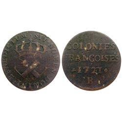 1721-B [Rouen Mint] Copper Nine Deniers, Martin 1.2-A.2.   Rarity-4.