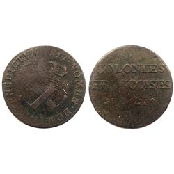 1721-B [Rouen Mint] Copper Nine Deniers, Martin 1.5-A.5.  Rarity-3.