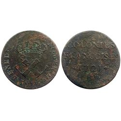 1721-B [Rouen Mint] Copper Nine Deniers, Martin 1.8-A.6.  Rarity-5.