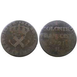 1721-H [La Rochelle Mint] Copper Nine Deniers, Martin 2.10-B.13.  Rarity-6.