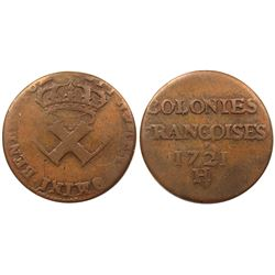 1721-H [La Rochelle Mint] Copper Nine Deniers, Martin 3.7-B.14.  Rarity-4.  Rarity-3.