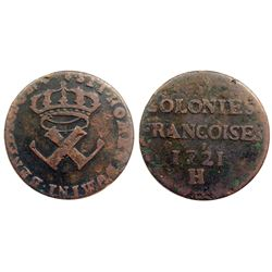 1721-H [La Rochelle Mint] Copper Nine Deniers, Martin 3.12-B.15.